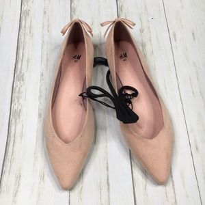 H&M Baby Pink Faux Suede Pointed Ballet Flats